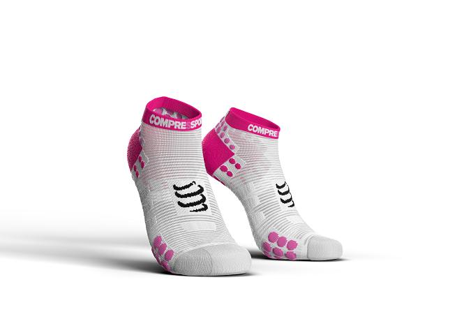 Balti-rozā zemās skriešanas zeķes Compressport PRS V3 Run Lo, maratons