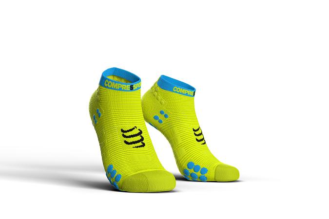 Dzeltenas zemās skriešanas zeķes Compressport PRS V3 Run Lo,  Maratons