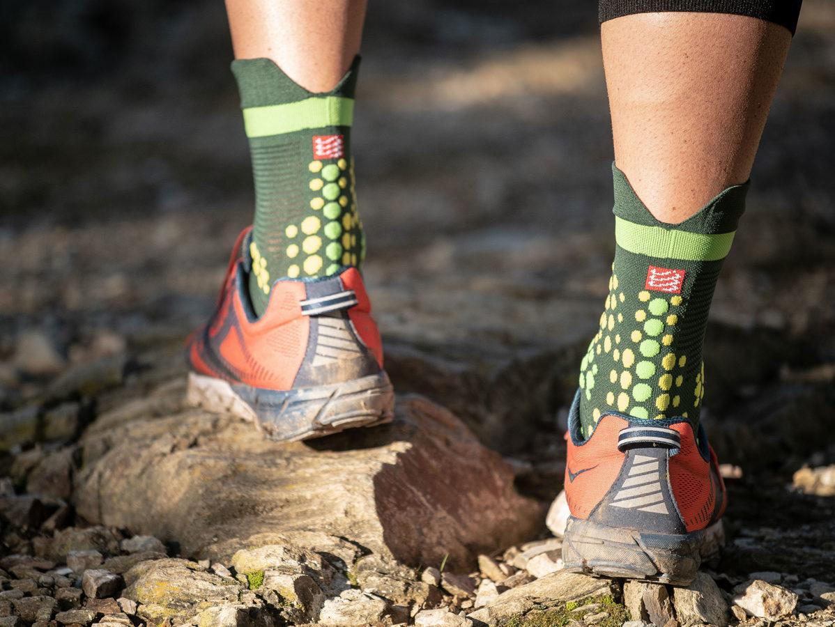 Taku skriešanas zeķes Compressport PRS V3 Trail, zaļas