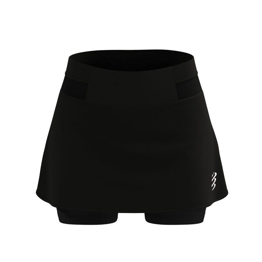 Skriešanas svārki ar šortiem Compressport Performance Skirt W, melni
