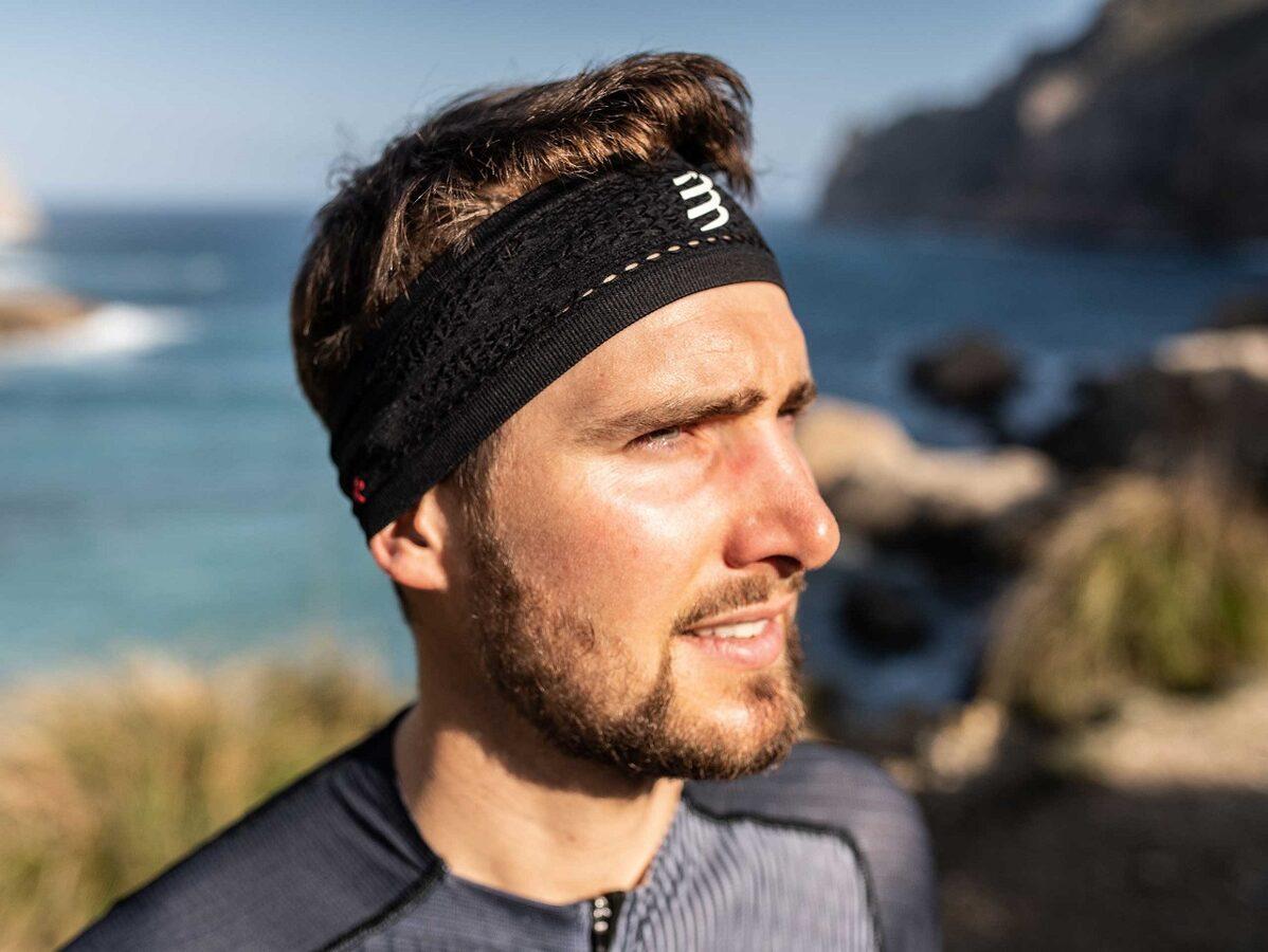 Šaurā galvas lenta Compressport Thin Headband, melna