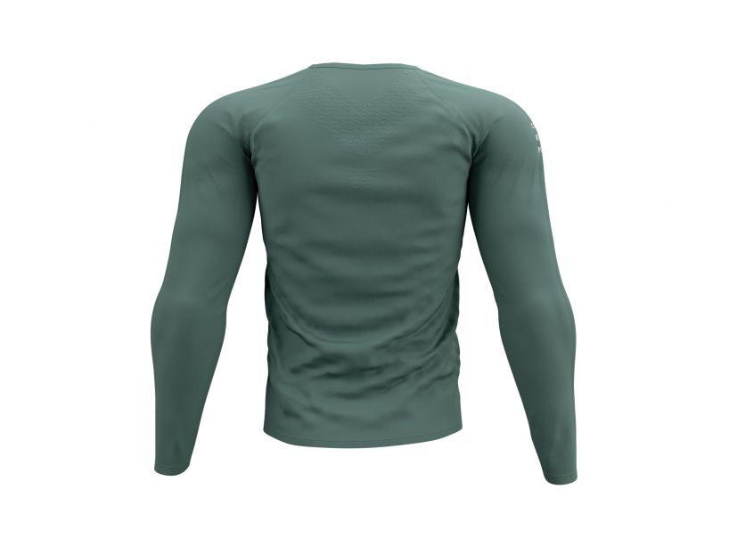 Zaļpelēks garais Compressport skriešanas krekls Training Tshirt LS Silver Pine