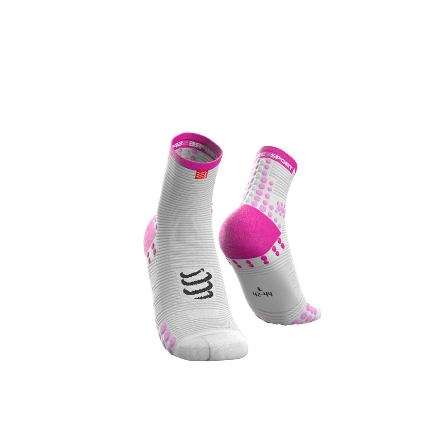 Skriešanas zeķes Compressport Pro Racing Socks V3 Run High, augstas, balts-rozā, maratons