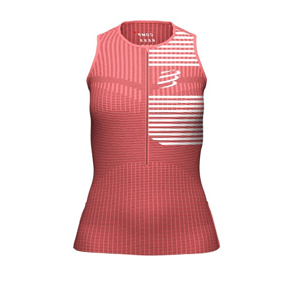 Sieviešu triatlona krekls bez piedurknēm Compressport Tri Postural Tank Top W, koraļu rozā